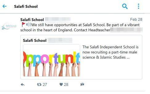 Image of the advert posted by the Salafi school on Twitter
