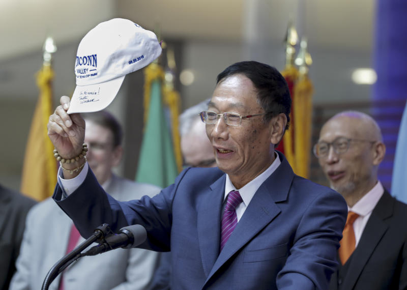 Foxconn CEO Terry Gou before the signing the agreement.Foxconn Technology Group announced Monday, Aug. 27, 2018, that it will invest $100 million in engineering and innovation research at the University of Wisconsin-Madison, making it one of the largest gifts in the school's history that comes as the Taiwan-based electronics giant builds a factory in southeastern Wisconsin that would be the company's first of its kind in North America. (Steve Apps/Wisconsin State Journal via AP)