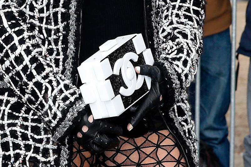 A closeup of the infamous crystal-encrusted Lego Chanel purse, which Jenner carried to the Chanel show in Paris, France. (Photo: Getty)