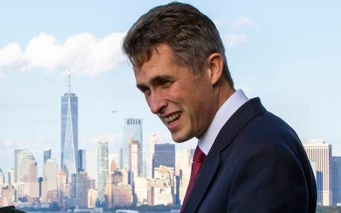 Gavin Williamson, the Defence Secretary, aboard HMS Queen Elizabeth in New York harbour - Credit: Eduardo Munoz Alvarez/AP