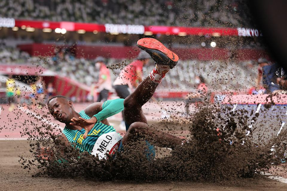 <p>TOKYO, JAPAN - JULY 31: Alexsandro Melo of Team Brazil on day eight of the Tokyo 2020 Olympic Games at Olympic Stadium on July 31, 2021 in Tokyo, Japan. (Photo by Patrick Smith/Getty Images)</p>