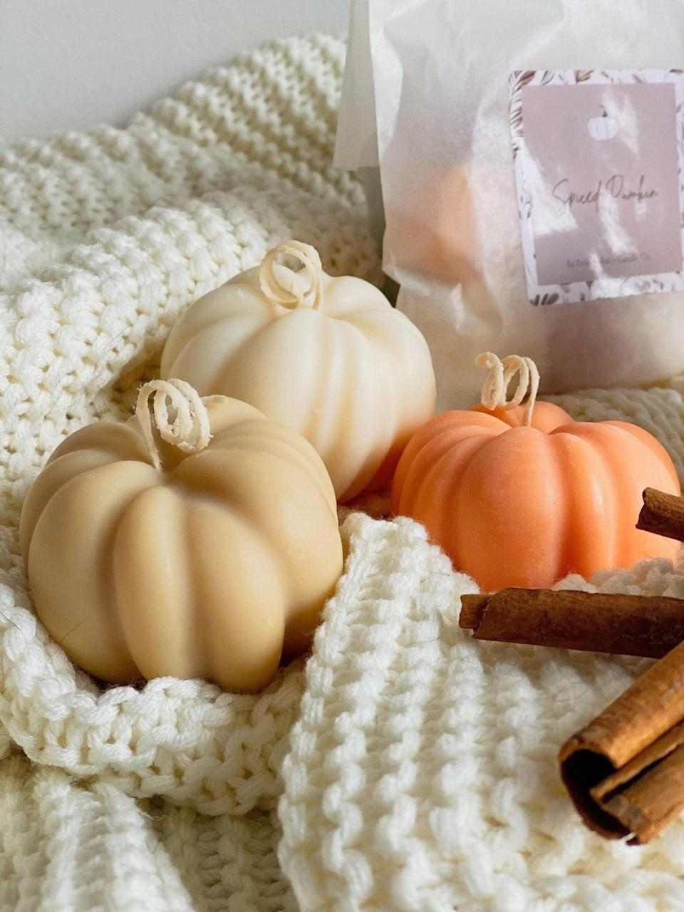 <p>OK, but how cute are these <span>Mini Pumpkin Decorative Candles</span> ($21) on Etsy?! Each purchase comes with a set of three mini pumpkin-shaped candles made from soy wax with autumn-infused fragrances. They're almost too adorable to light!</p>