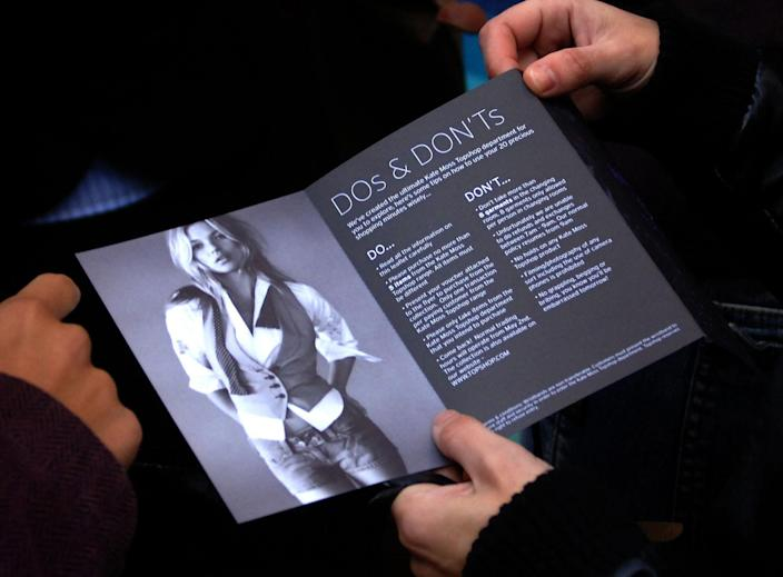 A leaflet given out at the release of Kate Moss' Topshop collection