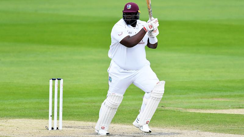 Rahkeem Cornwall, pictured here in action for West Indies against England in the third Test.