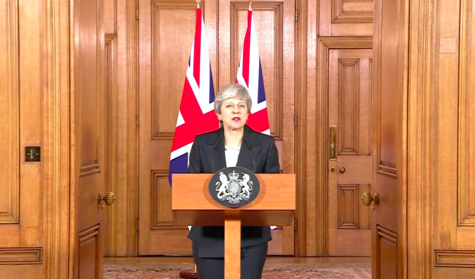 <em>Theresa May said she 'regretted' the delay to Brexit in a speech to the nation (PA)</em>