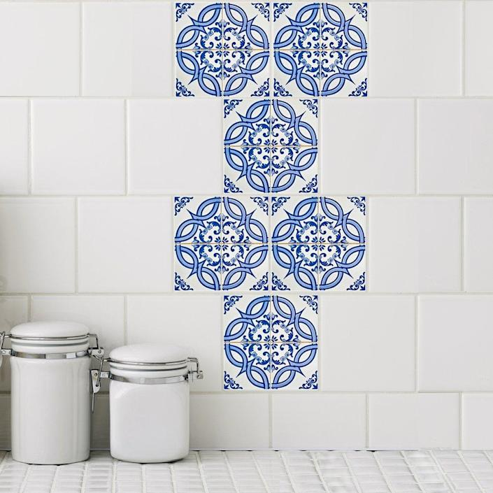These StickPretty tile decals can transform any tiled space into an artful eyeful of color and pattern.