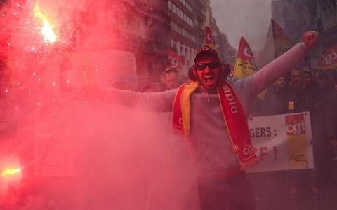 <span>Unions have been striking since December 5 in their biggest show of strength in years</span> <span>Credit: AFP </span>