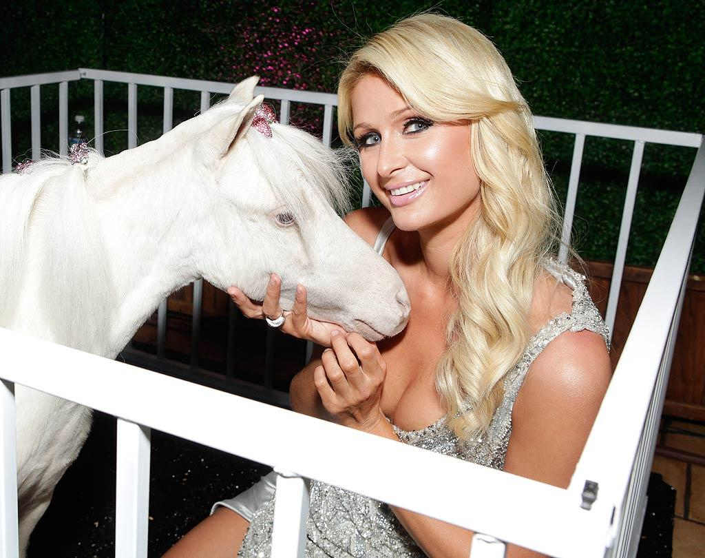 "What do you get for the girl who has everything? Not a pony, apparently. Paris Hilton already has one of those! Paris posed with her pet pony, named Lady CoCo Chanel, on Tuesday night at the Roosevelt Hotel in Hollywood, where she was celebrating the premiere of her new reality show, ""The World According to Paris."" Todd Williamson/<a href=""http://www.wireimage.com"" target=""new"">WireImage.com</a> - May 17, 2011"
