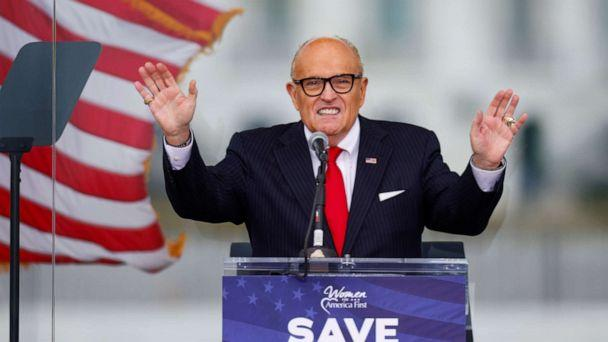 PHOTO: President Donald Trump's personal lawyer Rudy Giuliani speaks as Trump supporters gather by the White House ahead of the certification of the results of the 2020 U.S. presidential election in Washington, Jan. 6, 2021. (Jim Bourg/Reuters, FILE)
