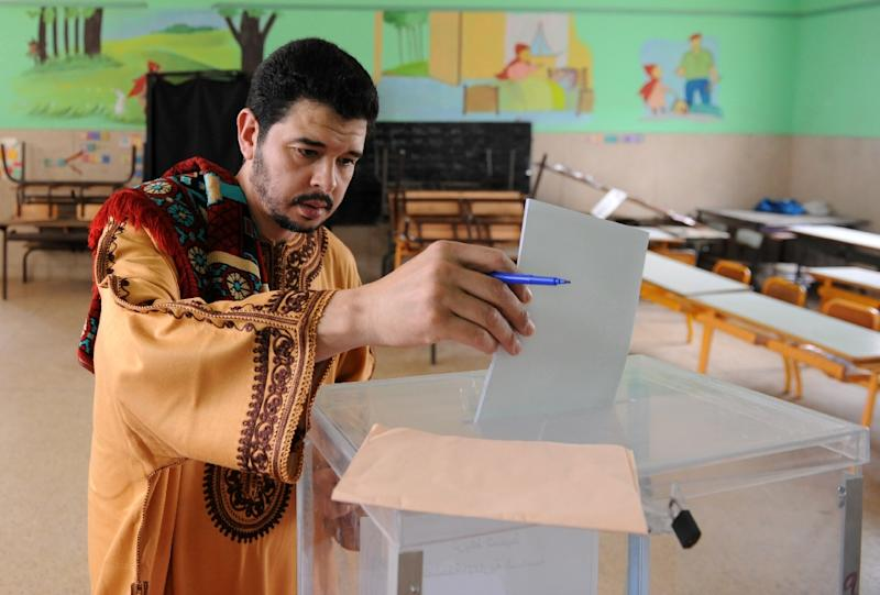 Early turnout had been low in Rabat with many people waiting till after the weekly noon prayers to cast their ballots (AFP Photo/Fadel Senna)