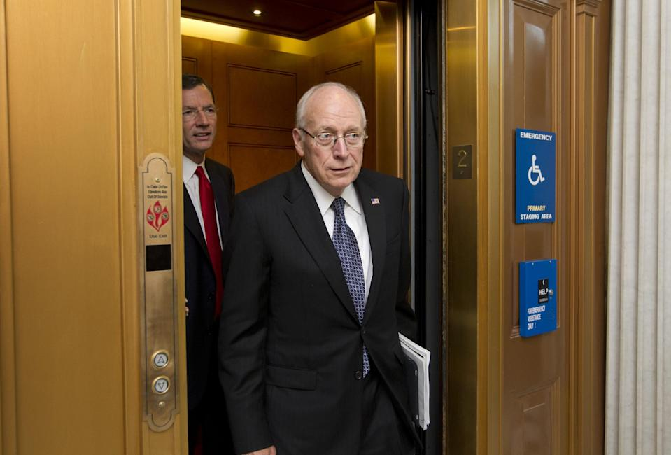 "FILE - This July 17, 2012 file photo shows former Vice President Dick Cheney at Capitol to meet with Senate Republican leaders at a political strategy luncheon, in Washington. Cheney, chief of staff under President Gerald Ford and widely perceived as an involved and influential vice president under George W. Bush, is featured in the Discovery documentary, ""The Presidents' Gatekeepers,"" airs for two hours each on Wednesday and Thursday. (AP Photo/J. Scott Applewhite, file)"