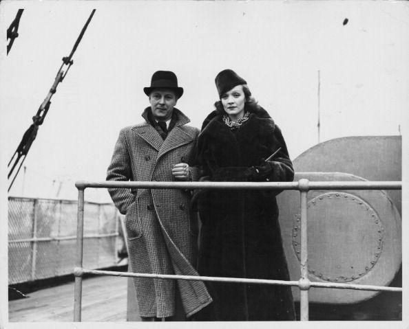 <p>Dietrich and husband Rudolf Sieber, whom she married when she was 22 years old, board the <em>Berengaria</em> cruise liner in Southampton, both looking the part of dapper travelers.<br></p>