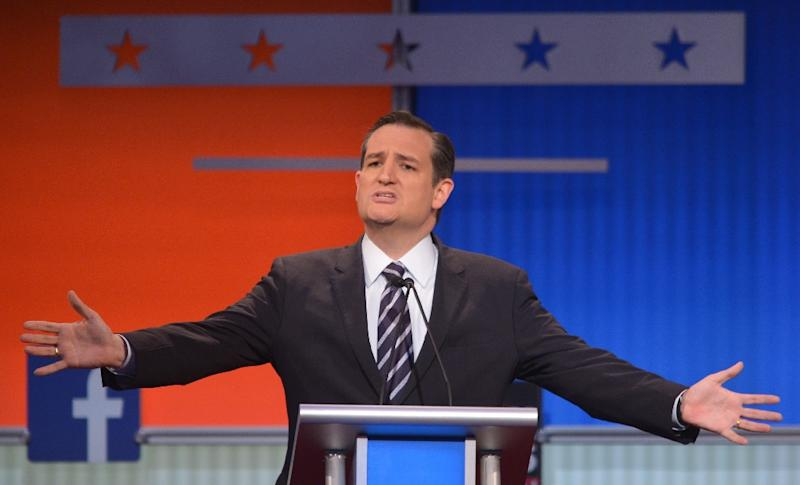 Texas Senator Ted Cruz says he has defended life throughout his career during the Republican presidential primary debate on August 6, 2015 at the Quicken Loans Arena in Cleveland, Ohio (AFP Photo/Mandel Ngan)