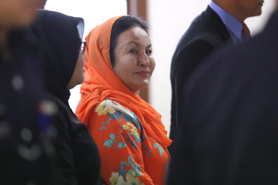 Rosmah Mansor at the Kuala Lumpur High Court on 4 October 2018. (Photo: AP)