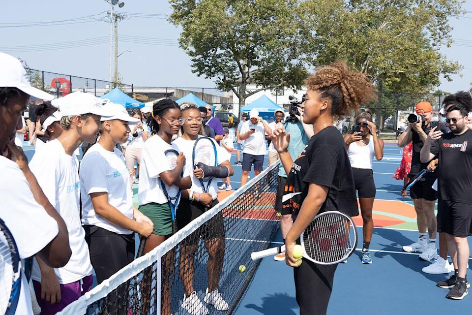<p>celebrating the renovation of her childhood tennis courts in Queens with BODYARMOR and artist Mast on Aug. 25. </p>