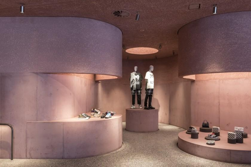 """The recently opened Webster at the Beverly Center in Los Angeles stands out because of its pink concrete architecture and list of buzzworthy brands. <span class=""""copyright"""">(Laurian Ghinitoiu / The Webster LA)</span>"""