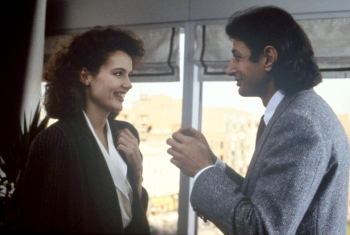 American actors Geena Davis and Jeff Goldblum on the set of The Fly, directed by David Cronenberg. (Photo by SLM Production Group/Brooksfil/Sunset Boulevard/Corbis via Getty Images)