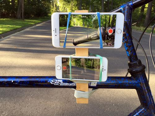 iPhone 6 and 6 Plus strapped to a bicycle