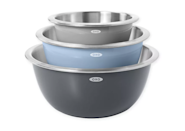 """These stainless-steel bowls have a shell that regulates the temperature of whatever's inside—hot or cold. (For a recipe that requires temperature precision, an insulated bowl is the key to ensuring your dish isn't compromised by a too-hot or too-cold kitchen.) You can also use one to make and store a best-kept-chilled dish, like cold macaroni salad, if you're headed to a <a href=""""https://www.glamour.com/gallery/stemless-wine-glasses?mbid=synd_yahoo_rss"""" rel=""""nofollow noopener"""" target=""""_blank"""" data-ylk=""""slk:picnic"""" class=""""link rapid-noclick-resp"""">picnic</a>. They have non-slip bases for stability and are dishwasher-safe. $60, Bed Bath & Beyond. <a href=""""https://www.bedbathandbeyond.com/store/product/oxo-3-piece-stainless-steel-mixing-bowl-set/5364852"""" rel=""""nofollow noopener"""" target=""""_blank"""" data-ylk=""""slk:Get it now!"""" class=""""link rapid-noclick-resp"""">Get it now!</a>"""