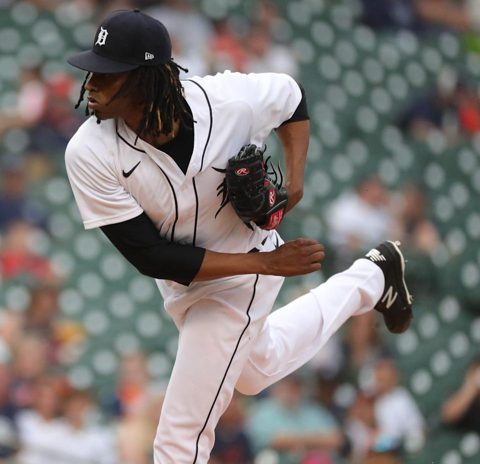 Detroit Tigers starter Jose Urena (62) pitches against the Houston Astros during second inning action on Thursday, June 24, 2021, at Comerica Park in Detroit.