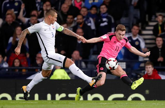 Soccer Football - 2018 World Cup Qualifications - Europe - Scotland vs Slovakia - Hampden Park, Glasgow, Britain - October 5, 2017 Slovakia's Martin Skrtel in action with Scotland's James Forrest REUTERS/Russell Cheyne