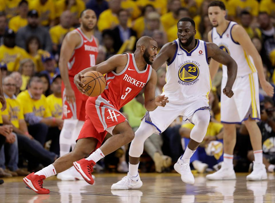 Are Chris Paul's Rockets and Draymond Green's Warriors headed for a Western Conference finals rematch? (AP)