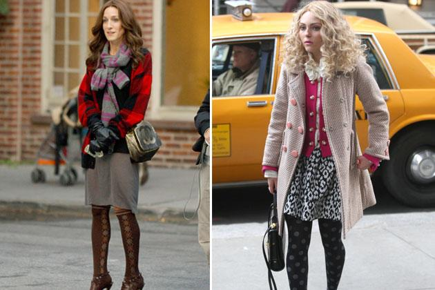 New York can get really cold. And Carrie has an interesting knack for layering. She also likes clashing prints like argyle and plaid to polka dots and floral. We can only imagine her hosiery collection.