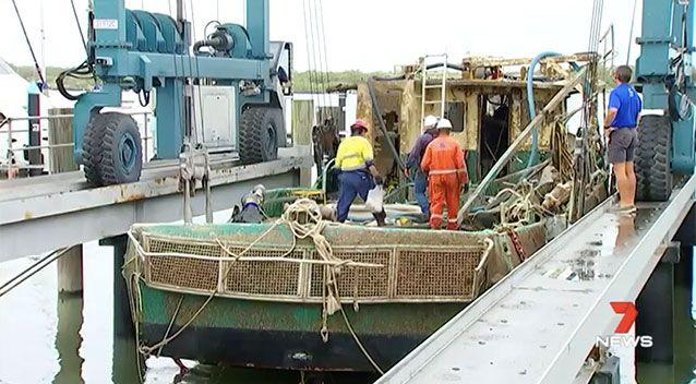 Recovery crews have not found any human remains in the wreck of a trawler, salvaged four months after it sunk off the Queensland coast with the loss of six men. Source: 7 News