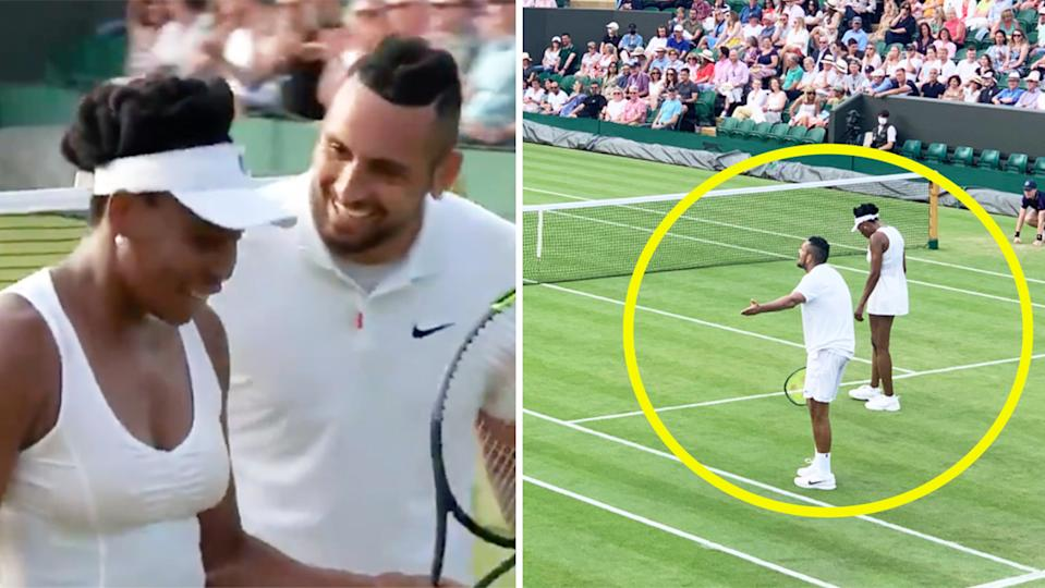 Tennis legend Venus Williams and Nick Kyrgios (pictured left) sharing a laugh and (pictured right) Kyrgios arguing with the chair umpire.