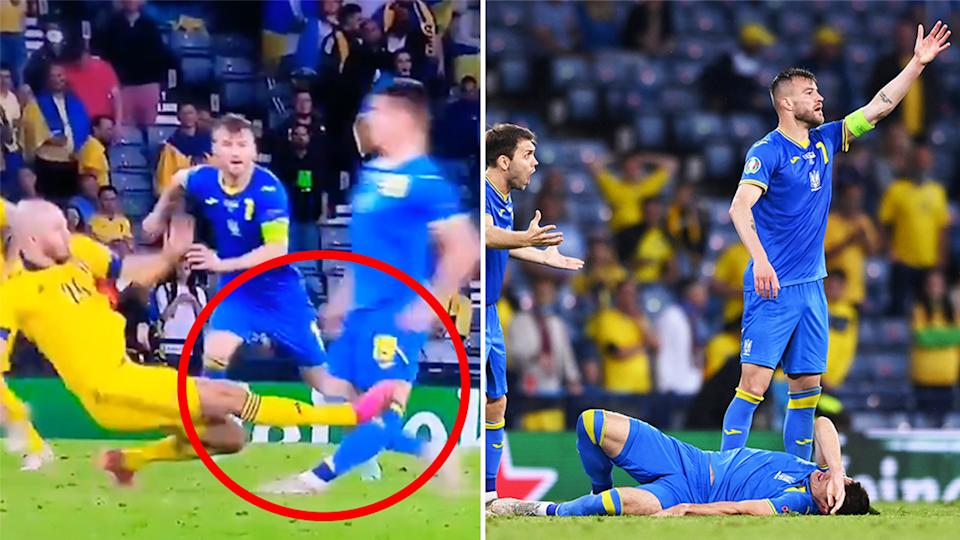 Artem Besedin (pictured right on the ground) in pain after Marcus Danielson's (pictured left) horror challenge to the knee at Euro 2020.