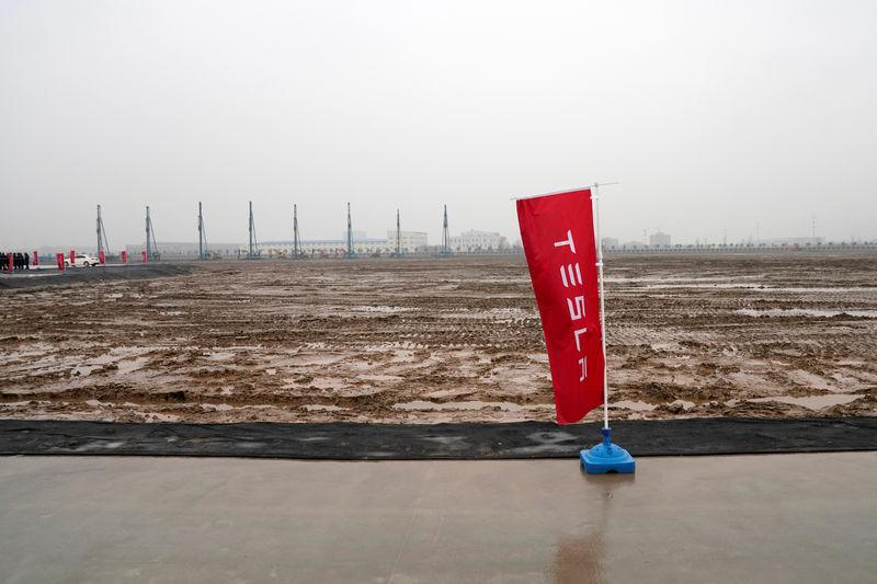 The land of Tesla Gigafactory at a groundbreaking ceremony of Tesla Shanghai Gigafactory in Shanghai