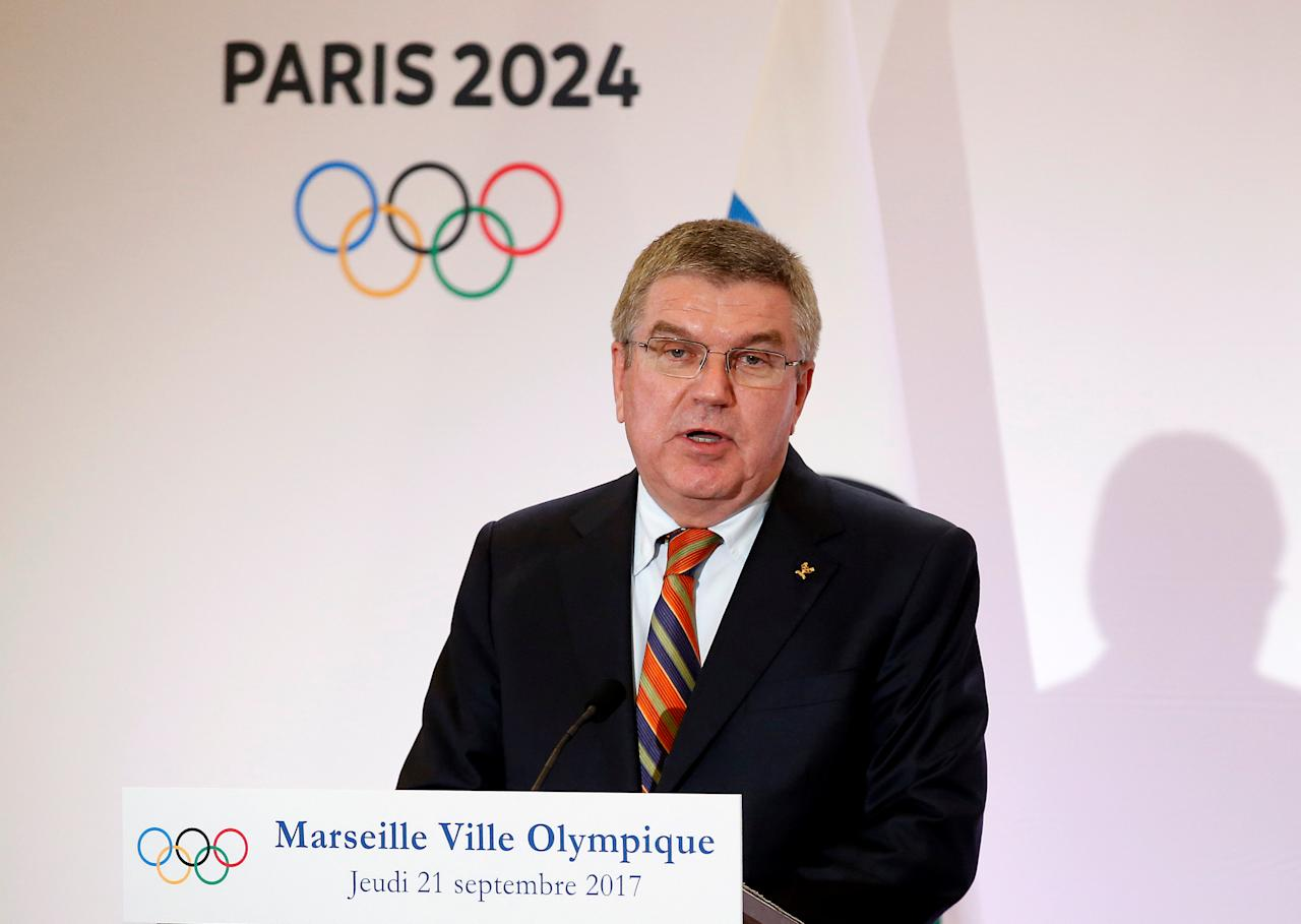 President of the International Olympic Committee (IOC) Thomas Bach attends a press conference during his visit at the future site of the sailing for the 2024 Summer Olympic Games in Marseille, France, September 21, 2017.  REUTERS/Sebastien Nogier/Pool