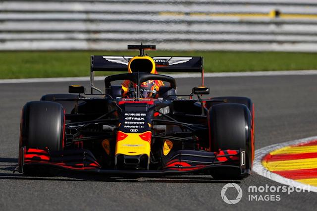 """Max Verstappen, Red Bull Racing RB15 <span class=""""copyright"""">Zak Mauger / LAT Images</span>"""