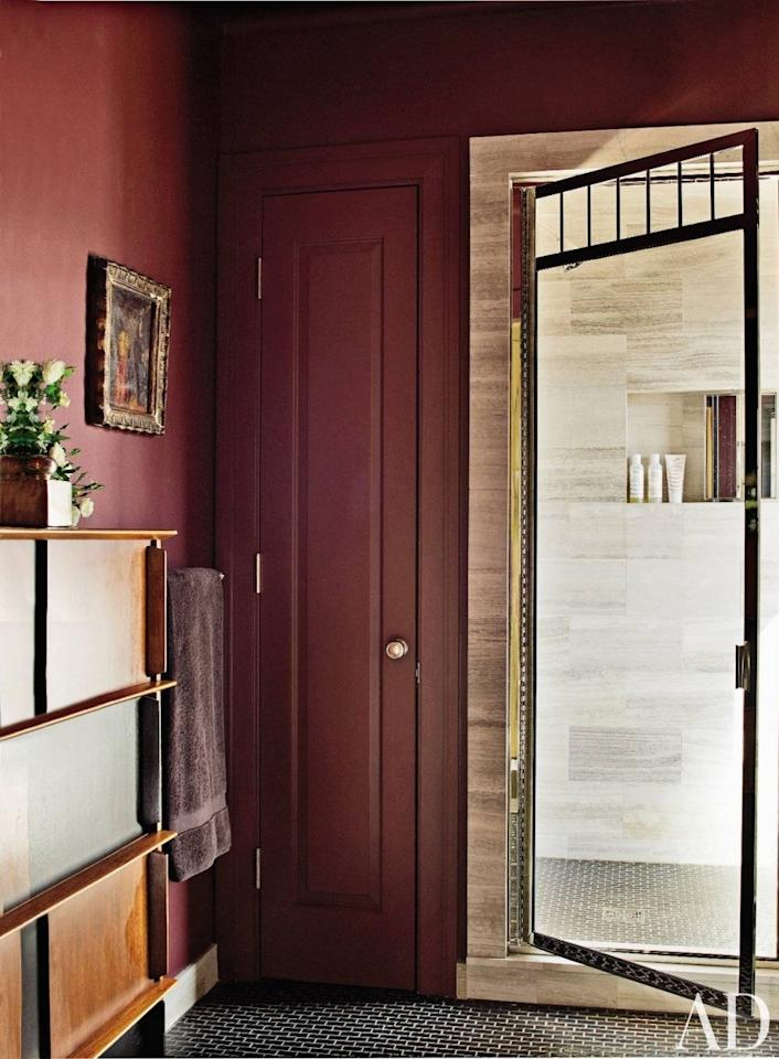 """""""If you can, hire a professional to poke into the walls just a bit to create a shallow recessed medicine cabinet. Or have them create a tile or marble recess in the shower, one just small enough to store your shampoo bottles. That way, they don't have to sit out on the ledge of the tub, which looks terrible."""""""