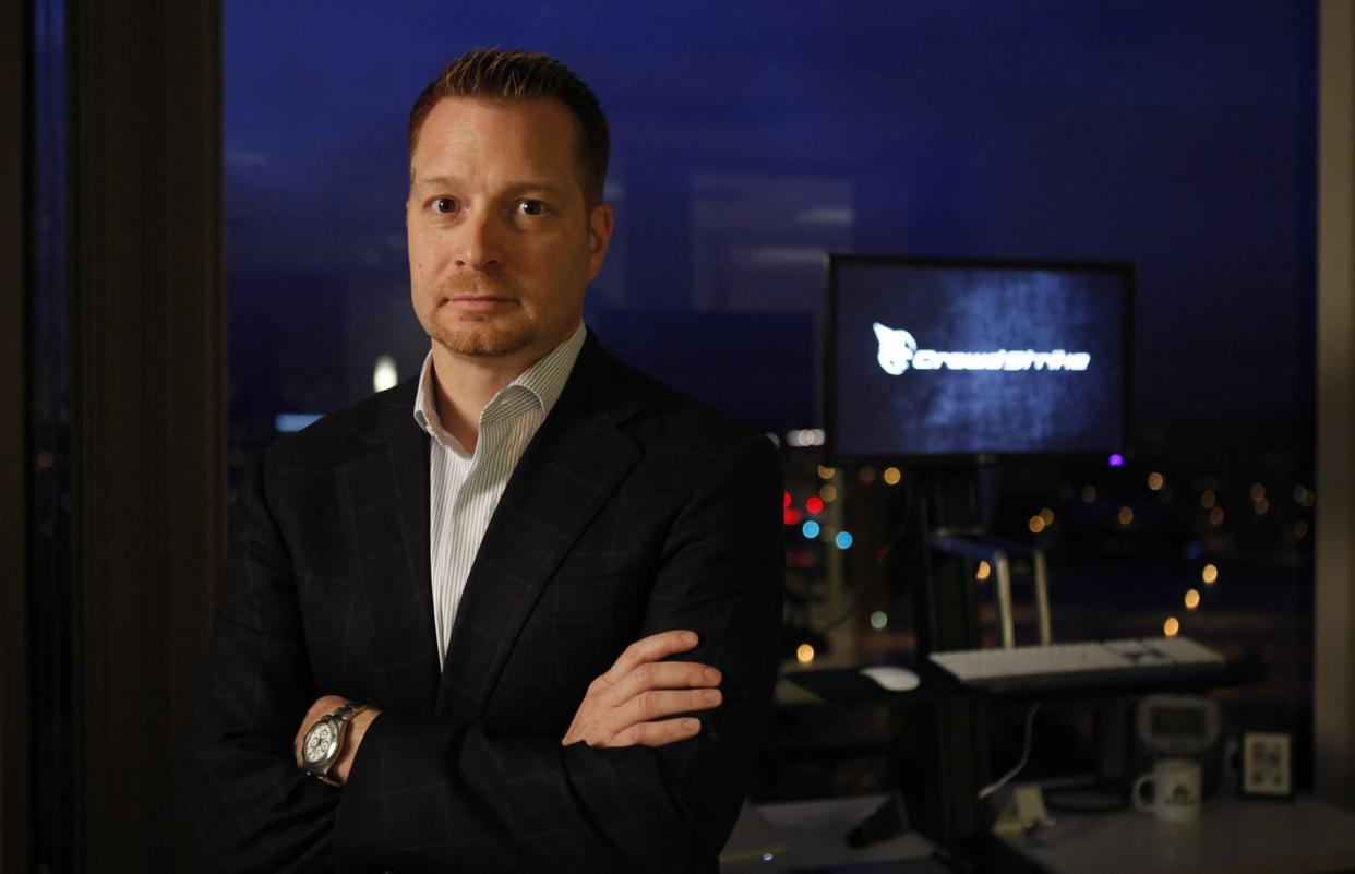 CrowdStrike Chief Executive George Kurtz is photographed in the company's offices. CrowdStrike helps companies protect their data, and the company has been successful given the increased threat of foreign based hackers from Russia and China. (Photo by Katie Falkenberg/Los Angeles Times via Getty Images)
