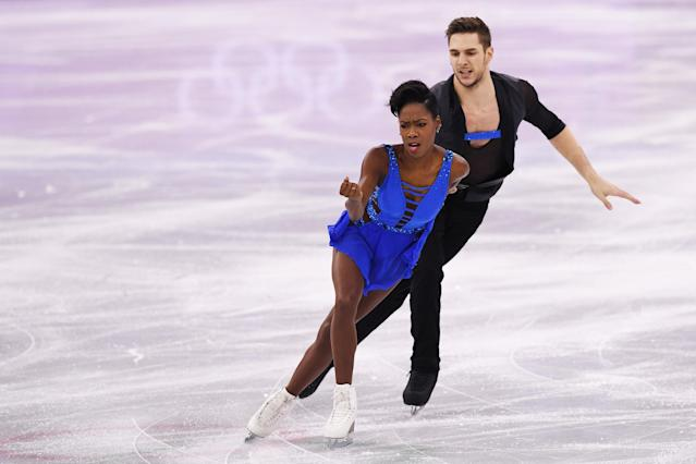 France's Vanessa James and Morgan Cipres compete in the pair skating short program of the figure skating event during the Pyeongchang 2018 Winter Olympic Games at the Gangneung Ice Arena in Gangneung on Feb. 14, 2018.