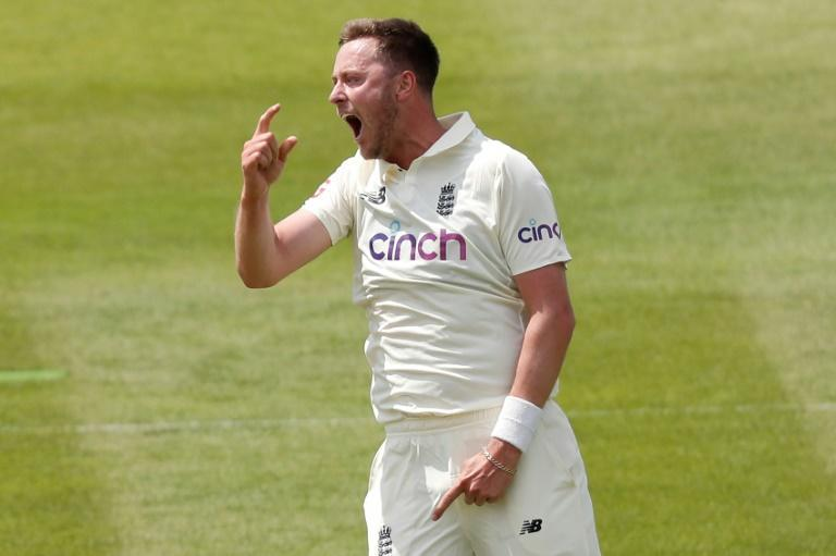Debut strike - England fast bowler Ollie Robinson celebrates his dismissal of New Zealand's Tom Latham for 23 on the first day of the first Test at Lord's on Wednesday