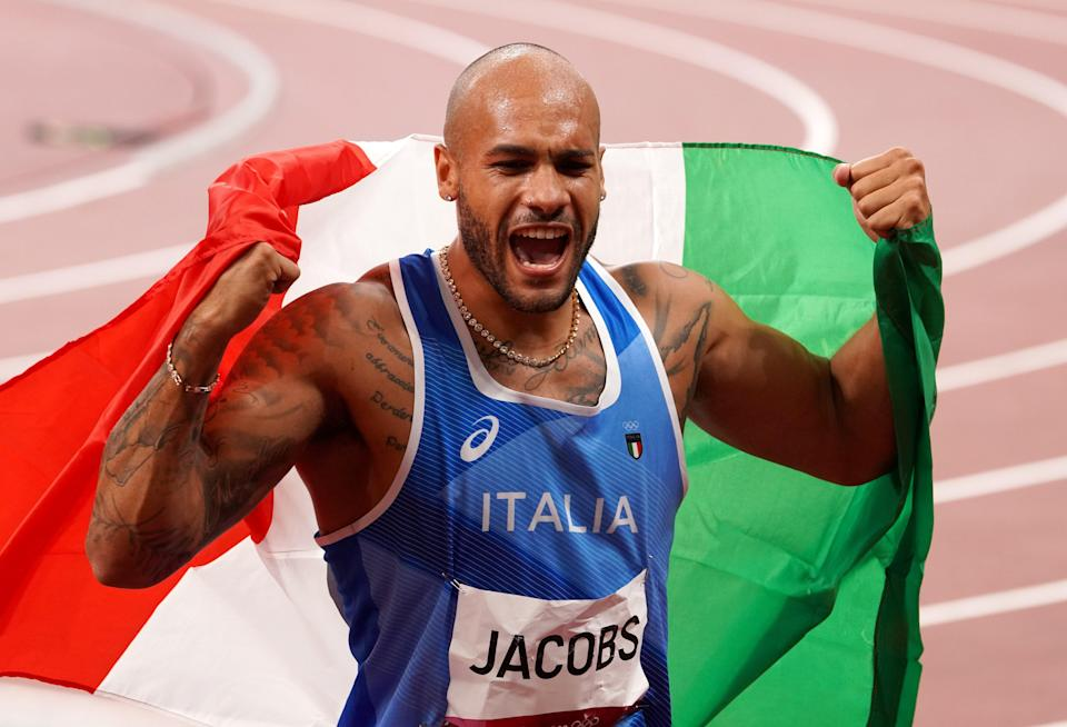 The men's 100m was won by Italy's Lamont Marcell Jacobs (Martin Rickett/PA) (PA Wire)