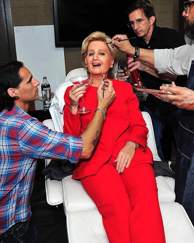 "<p>The pop princess went all out for Kate Hudson's annual Halloween bash on Friday night when she dressed as Democratic presidential candidate Hillary Clinton. Perry, who has made it clear she's with her, shared this photo of her prepping for the festivities: ""Having a little pre party before I take office,""she cracked on Instagram. ""#IMWITHME."" (Photo: <a href=""https://www.instagram.com/p/BMIzQ8TgsZH/"" rel=""nofollow noopener"" target=""_blank"" data-ylk=""slk:Instagram"" class=""link rapid-noclick-resp"">Instagram</a>) </p>"