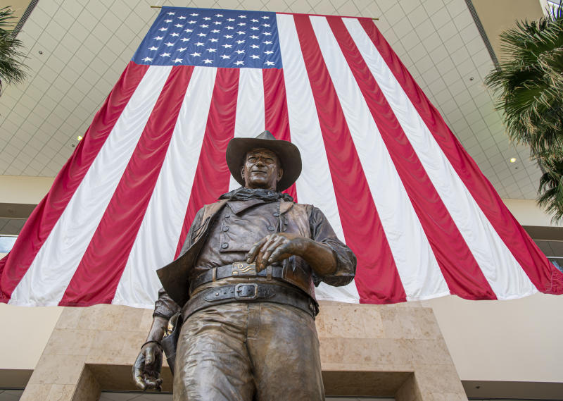 SANTA ANA, CA - SEPTEMBER 25: The statue of John Wayne at John Wayne Airport in Santa Ana on Wednesday, September 25, 2019. (Photo by Leonard Ortiz/MediaNews Group/Orange County Register via Getty Images)