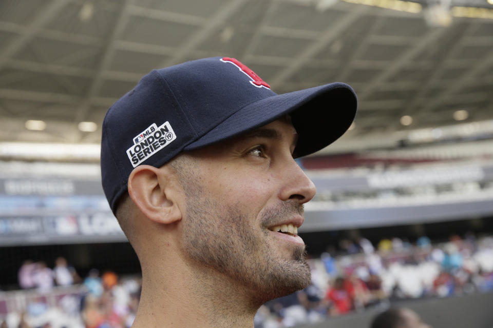 Boston Red Sox starting pitcher Rick Porcello watches during batting practice in London, Friday, June 28, 2019. Major League Baseball will make its European debut with the New York Yankees versus Boston Red Sox game at London Stadium this weekend. (AP Photo/Tim Ireland)