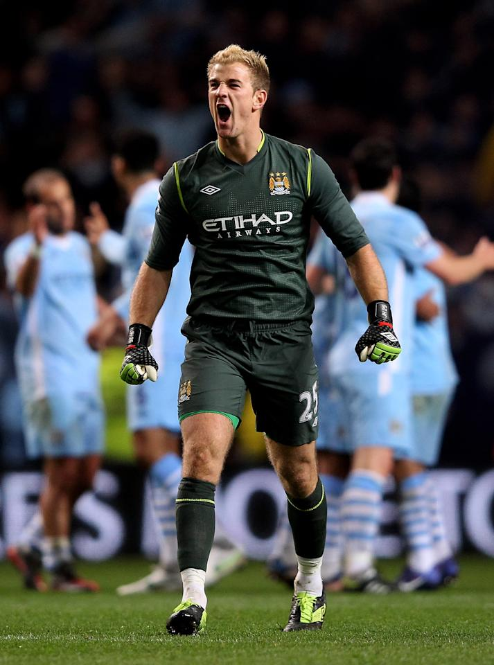 MANCHESTER, ENGLAND - APRIL 30:  Joe Hart of Manchester City celebrates at the end of the Barclays Premier League match between Manchester City and Manchester United at the Etihad Stadium on April 30, 2012 in Manchester, England.  (Photo by Alex Livesey/Getty Images)