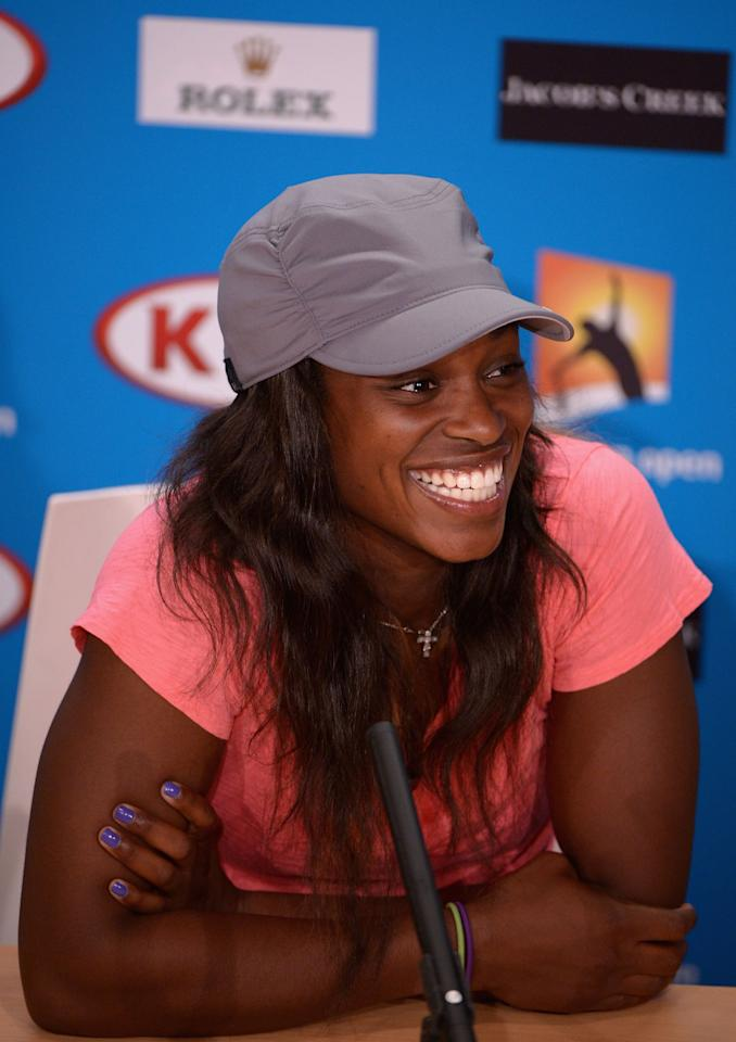 MELBOURNE, AUSTRALIA - JANUARY 23:  Sloane Stephens of the United States of America talks to the media at a press conference after her Quarterfinal match win against Serena Williams of the United States of America during day ten of the 2013 Australian Open at Melbourne Park on January 23, 2013 in Melbourne, Australia.  (Photo by Vince Caligiuri/Getty Images)