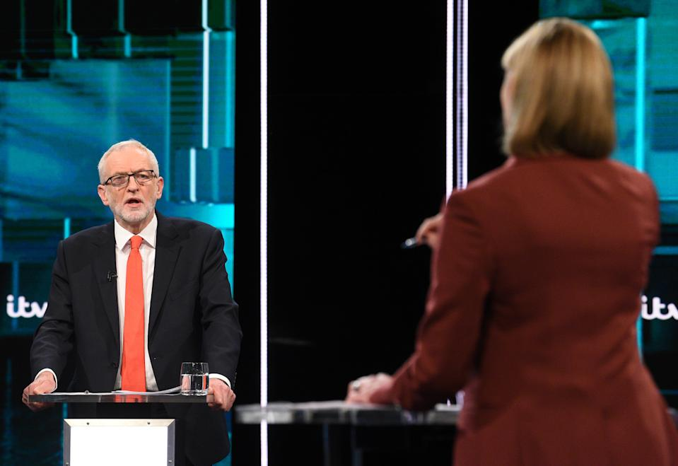SALFORD, ENGLAND - NOVEMBER 19: (AVAILABLE FOR EDITORIAL USE UNTIL DECEMBER 19, 2019) In this handout image supplied by ITV,  Leader of the Labour Party Jeremy Corbyn speaks during the ITV Leaders Debate at Media Centre on November 19, 2019 in Salford, England. This evening ITV hosted the first televised head-to-head Leader's debate of this election campaign. Leader of the Labour party, Jeremy Corbyn faced Conservative party leader, Boris Johnson after the SNP and Liberal Democrats lost a court battle to be included. (Photo by Jonathan Hordle//ITV via Getty Images)