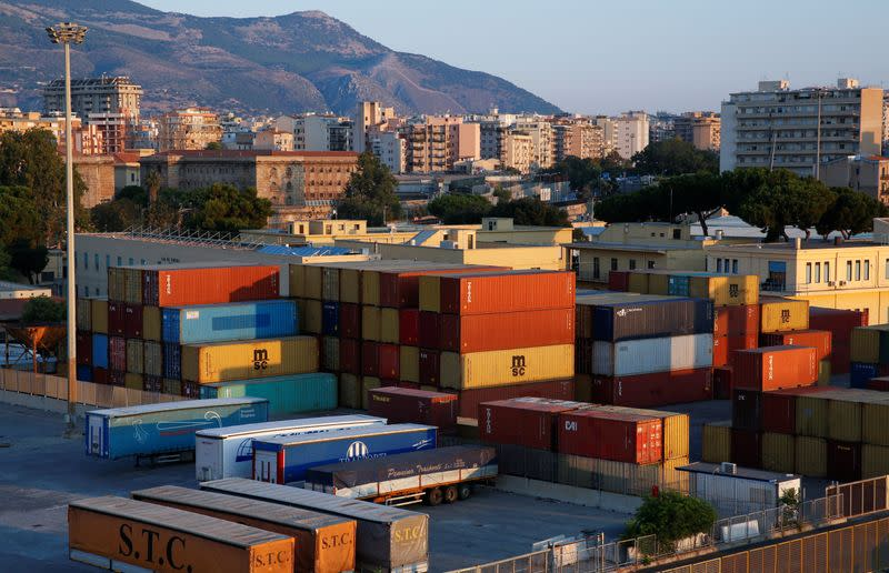 A containers area is seen in the port of Palermo