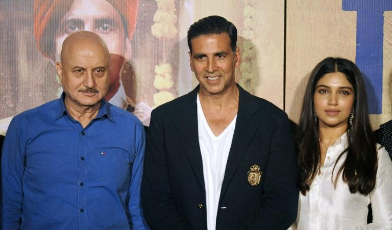 Bollywood actors Anupam Kher (L), Akshay Kumar (C) and Bhumi Pednekar star in 'Toilet: Ek Prem Katha' which deals with the distinctly unglamorous subject of India's chronic lack of toilets