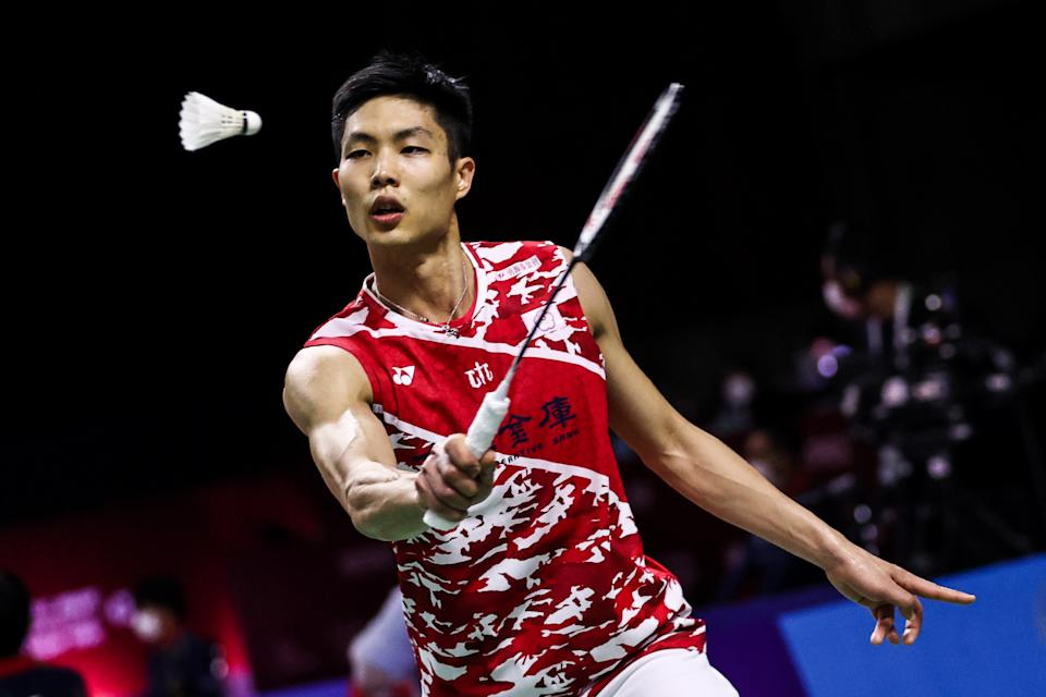 BANGKOK, THAILAND - JANUARY 20: Chou Tien Chen of Chinese Taipei competes in the Men's Singles first round match against Suppanyu Avihingsanon of Thailand on day two of the Toyota Thailand Open on January 20, 2021 in Bangkok, Thailand. (Photo by Shi Tang/Getty Images)