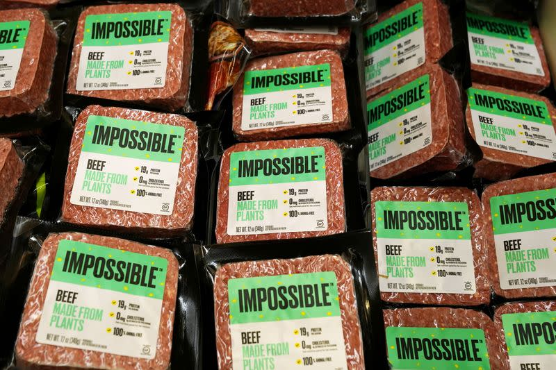FILE PHOTO: Impossible Foods plant-based beef products are seen at the meat section of a chain supermarket in Hong Kong