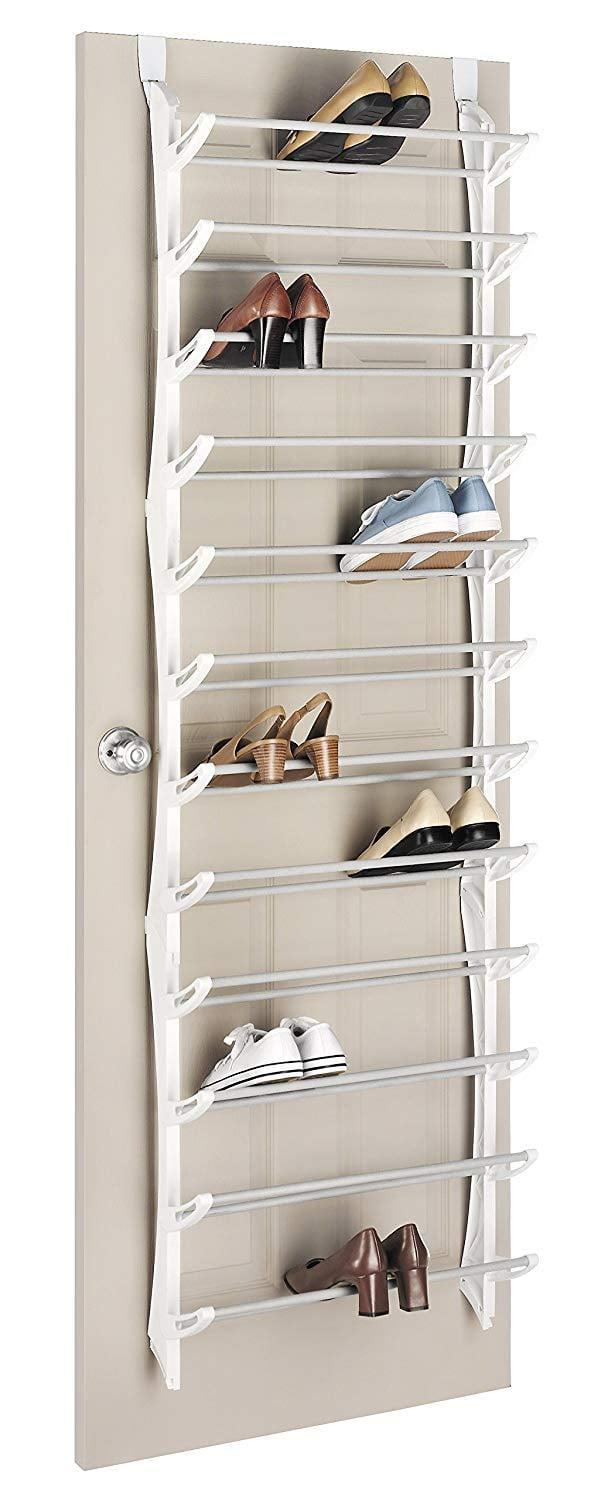 "<p>Heels can be hard to store in most over-the-door racks, but that's no problem with the <a href=""https://www.popsugar.com/buy/Whitmor-Over-Door-Shoe-Rack-410877?p_name=Whitmor%20Over%20the%20Door%20Shoe%20Rack&retailer=amazon.com&pid=410877&price=38&evar1=casa%3Aus&evar9=45752594&evar98=https%3A%2F%2Fwww.popsugar.com%2Fhome%2Fphoto-gallery%2F45752594%2Fimage%2F45753880%2FStore-Shoes-Save-Space&list1=amazon%2Caccessories%2Corganization%2Cstorage%20tips%2Chome%20organization&prop13=mobile&pdata=1"" class=""link rapid-noclick-resp"" rel=""nofollow noopener"" target=""_blank"" data-ylk=""slk:Whitmor Over the Door Shoe Rack"">Whitmor Over the Door Shoe Rack</a> ($38). The slanted shelves are perfect for heels, and each one can fold up to save space when needed. </p>"