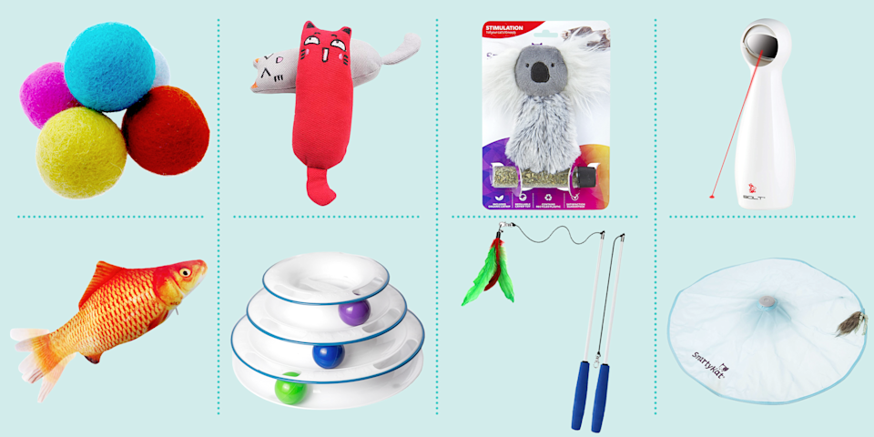 """<p>If you can't swing by the pet store for a food or litter restock without an adorable toy or two finding their way into your cart, we understand. There's nothing cuter than watching your kitty roll around on the floor with their favorite plaything, and watching that tail twitch as you take a new cat toy out of the package. </p><p>But cat toys aren't just fun for Fluffy; they're actually good for cats' health. <a href=""""https://petcentral.chewy.com/four-reasons-why-play-is-essential-for-your-pet/"""" rel=""""nofollow noopener"""" target=""""_blank"""" data-ylk=""""slk:Veterinarians say"""" class=""""link rapid-noclick-resp"""">Veterinarians say</a> that playing has several very real benefits for felines. First, it can help them maintain a healthy weight if they're running around the house regularly, rather than sleeping every moment away. That, in turn, can help them live longer and keep chronic health conditions like heart disease and diabetes at bay. Play also keeps them mentally sharp. Just like people doing crosswords or Sudoku to limber up their brains, puzzle play engages cats' minds and staves off boredom, which also boosts their mood. </p><p>Plus, playing with your pet can improve your bond, too. Whether dangling a feather toy, tossing a catnip mouse across the room, or setting up a cat obstacle course (yes, they exist!), engaging with your pet will strengthen your relationship, which can even lead to better-behaved pets. If you're convinced, check out our list of top-rated cat toys below — and share your favorites in the comments! Have a dog, too? We've also got recommendations for the <a href=""""https://www.goodhousekeeping.com/life/pets/g5121/best-dog-toys/"""" rel=""""nofollow noopener"""" target=""""_blank"""" data-ylk=""""slk:best dog toys you can buy"""" class=""""link rapid-noclick-resp"""">best dog toys you can buy</a>.</p>"""